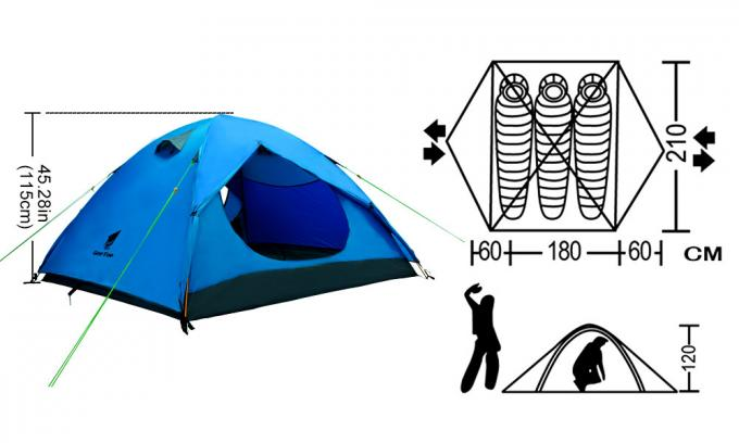 Cross Pole 2.59kg 4 Season Backpacking Tent For Camping 0